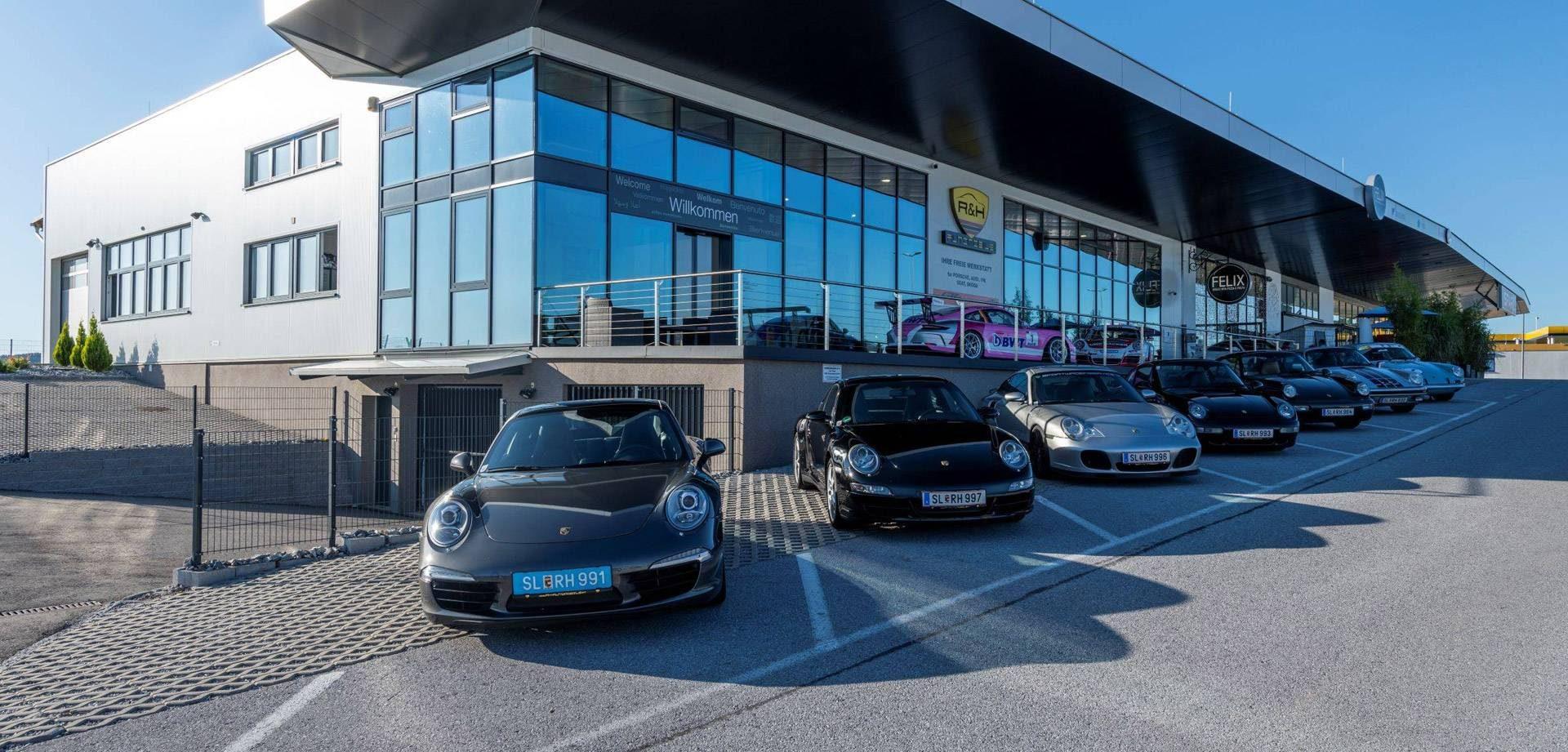 Außenansicht der freien Porsche-Werkstatt R&H Automobile